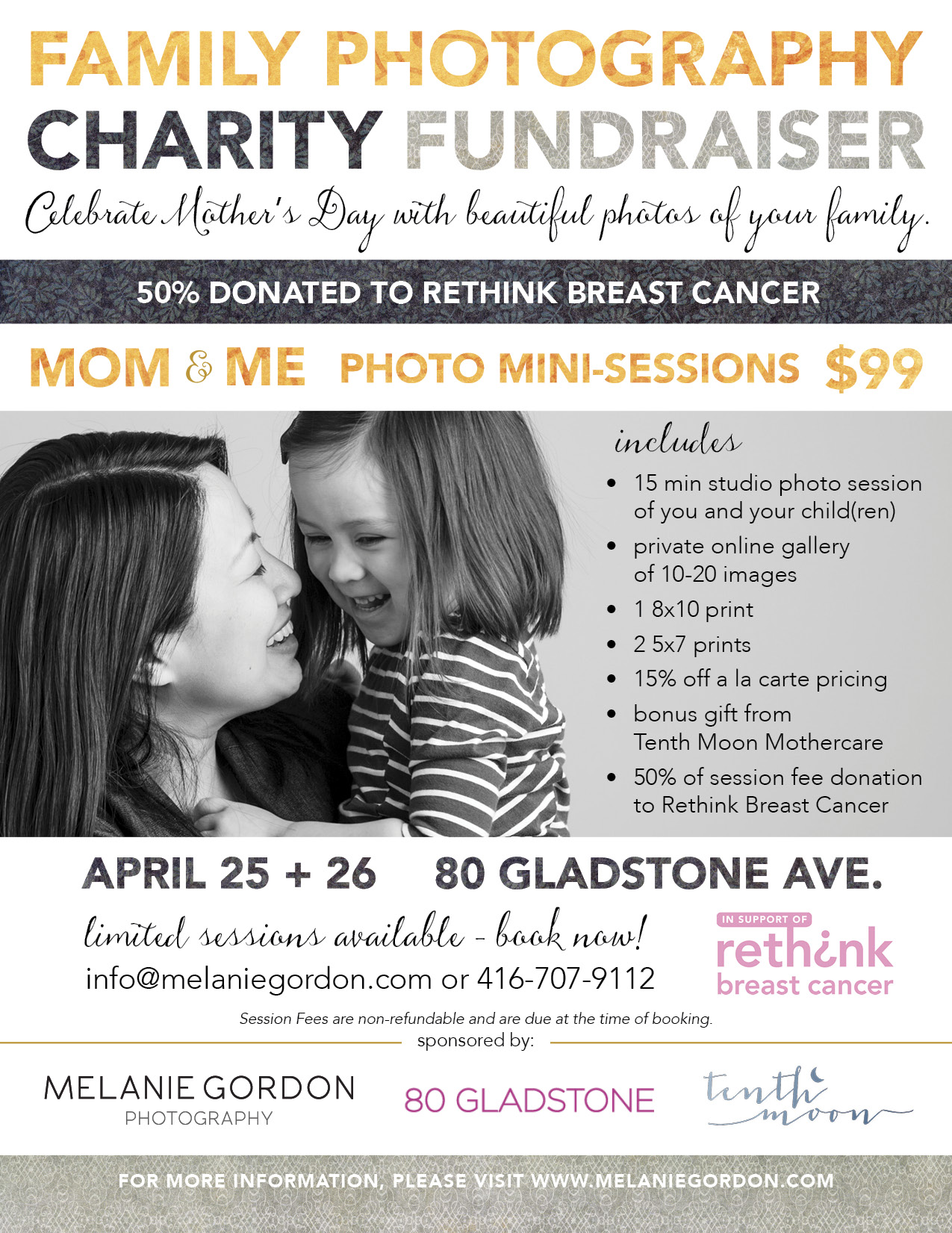 Toronto Charity Family Photography Fundraiser for Rethink Breast Cancer